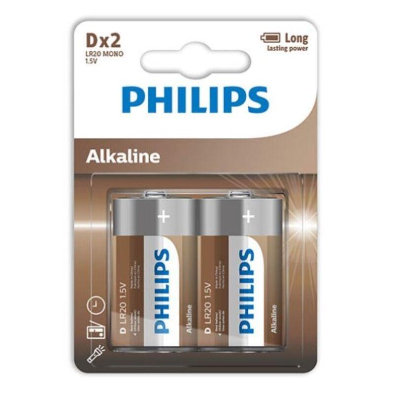 PHILIPS ALKALINE PILA D LR20 BLISTER*2