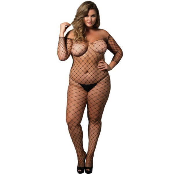 LEG AVENUE OFF THE SHOULDER BODYSTOCKING NEGRO TALLA GRANDE