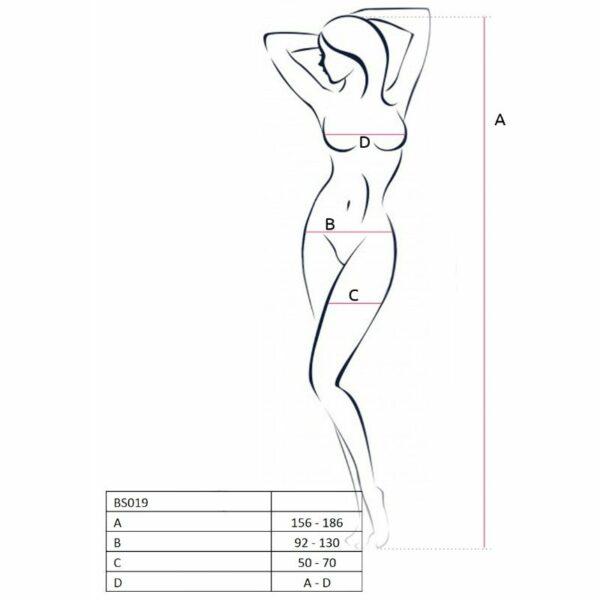 PASSION WOMAN BS019 BODYSTOCKING NEGRO TALLA UNICA