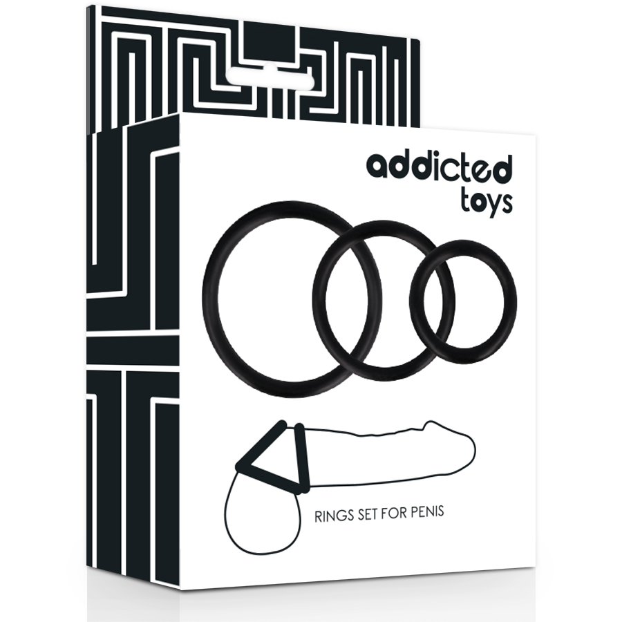 ADDICTED TOYS SET ANILLOS PENE NEGRO