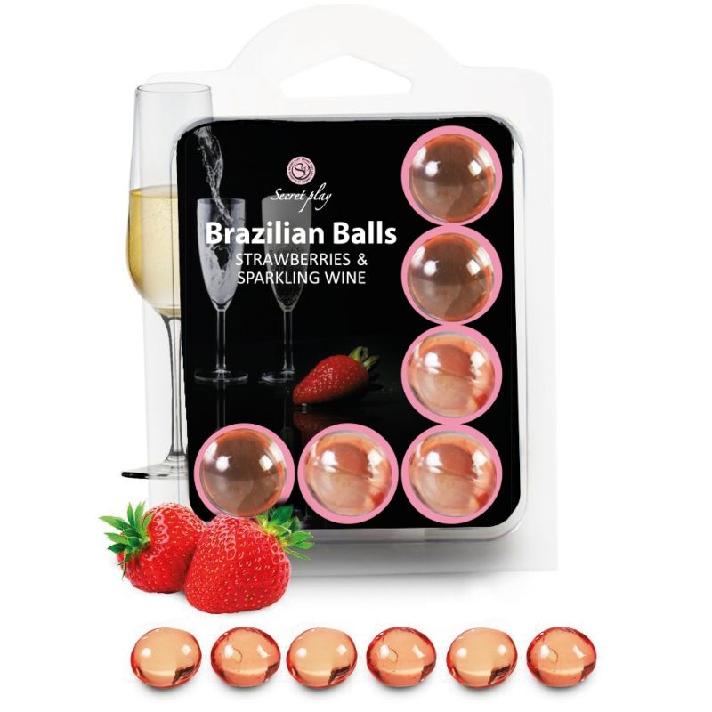 SECRETPLAY SET 6 BRAZILIANS BALLS FRESAS CON CAVA