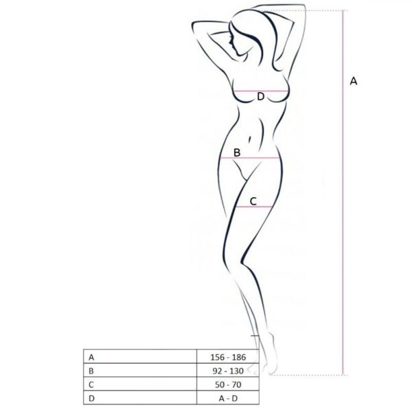 PASSION WOMAN BS050 BODYSTOCKING BLANCO TALLA UNICA