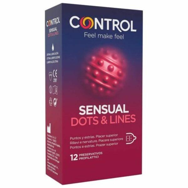 CONTROL SENSUAL DOTS  LINES PUNTOS Y ESTRIAS 12 UDS