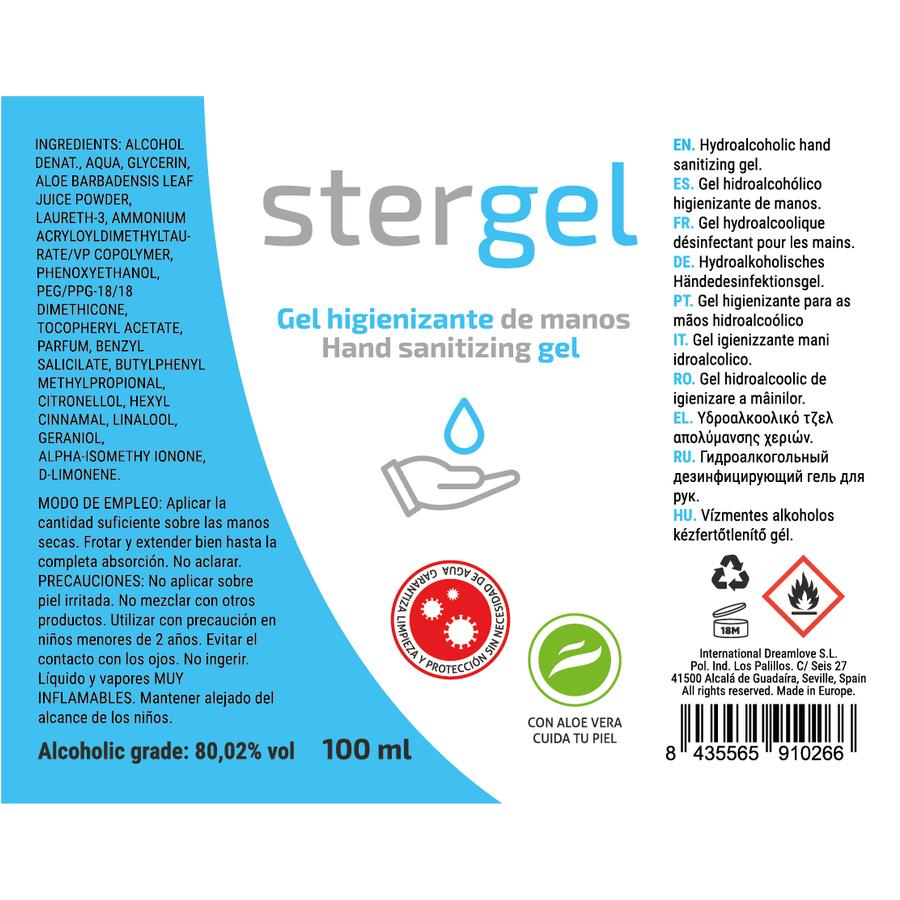STERGEL  HIDROALCOHOLICO + ALOE VERA + FRAGANCIA 100ML