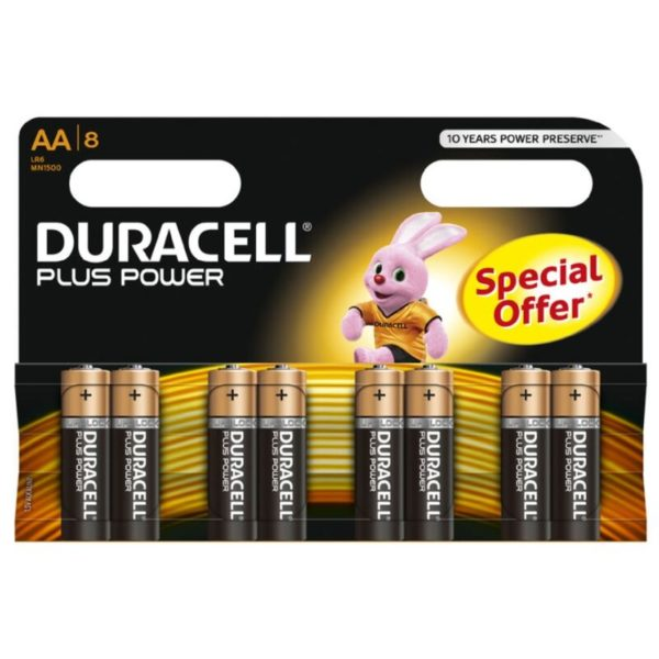 DURACELL PLUS POWER PILA ALCALINA AA LR6 BLISTER*8