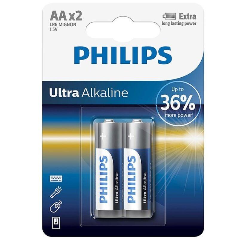 PHILIPS ULTRA ALKALINE PILA AA LR6 BLISTER*2